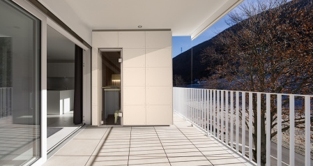 Modern house terrace with railing