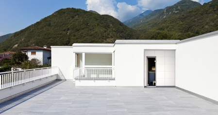 large terrace of a modern white house